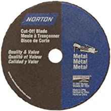 Norton Gemini Small Diameter Reinforced Abrasive Flat Cut-off Wheel, Type 01, Aluminum Oxide