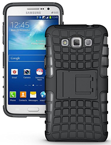 NAKEDCELLPHONE'S BLACK GRENADE GRIP RUGGED TPU SKIN HARD CASE COVER STAND FOR SAMSUNG GALAXY GRAND MAX PHONE (SM-G7200