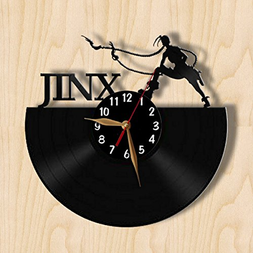 League of Legends Jinx Wall Clock 12 inch (30cm) / Laser cut / ANY LoL Champion / Championship Wall Decor / Recycled Vinyl Record (Black middle - Arabic digits) (Champions League 15 Album compare prices)