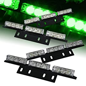 Ediors Ultra Bright 36 LED Emergency Vehicle Flashing Warning Strobe Lights/Lightbars For Deck Dash Grille-Green