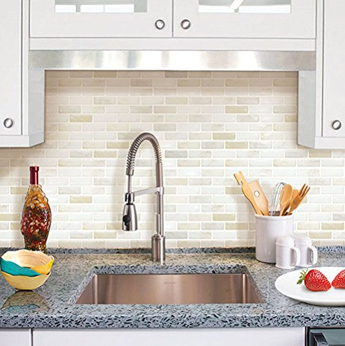 Beaustile white brick mosaic 3d wall sticker home decor for 3d wallpaper for kitchen walls