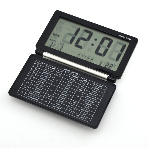 Digital Travel Alarm Clock World Time with Snooze Calendar Thermomete Display (Black+Silver)