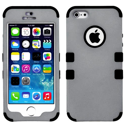 Mylife (Tm) Black And Gray - Colorful Robot Series (Neo Hypergrip Flex Gel) 3 Piece Case For Iphone 5/5S (5G) 5Th Generation Itouch Smartphone By Apple (External 2 Piece Fitted On Hard Rubberized Plates + Internal Soft Silicone Easy Grip Bumper Gel + Life