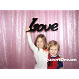 QueenDream glitter backdrop 4ftx6.5ft pink backdrop Sequin Backdrop custom photo backdrop (Color: Pink, Tamaño: 4ft x 6.5ft)