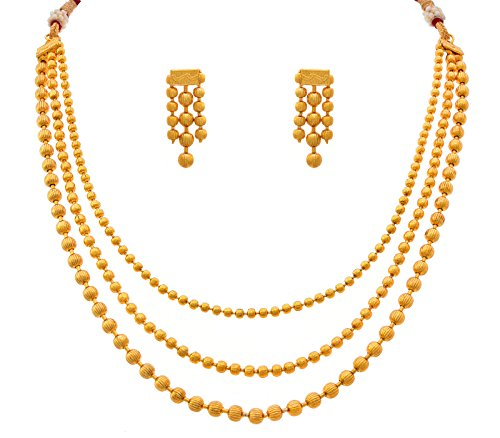 Jfl - Jewellery For Less One Gram Gold Plated Multi Strand Gold Bead Necklace Set With Thread Behind And Earrings For Women And Girls  available at amazon for Rs.488