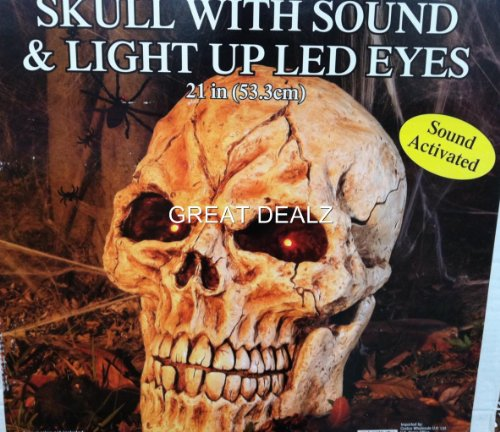 21in (53.3cm) Skull with Light Up LED Eyes and Sound