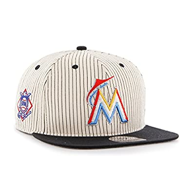 MLB Miami Marlins Woodside '47 Captain Adjustable Snapback Hat, black, One Size,Black