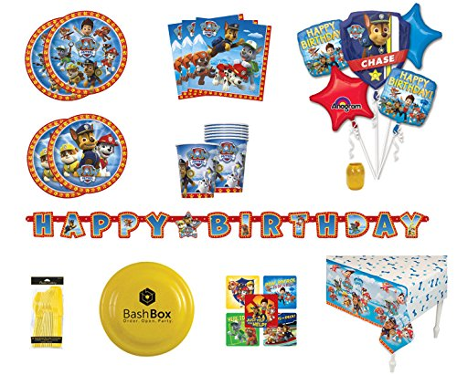 BashBox Paw Patrol Birthday Party Supplies Pack for 8 Guests Including Plates, Cups, Napkins, Table Cover, Balloon Bouquet, Banner & More