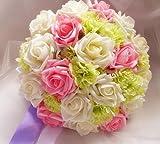 【Honesty Mouth】 ウェディング ブーケ バラ カーネーション 造花 3色 ホワイト グリーン ピンク ブライダル フラワー 結婚式 花束 かわいい 髪飾り セット