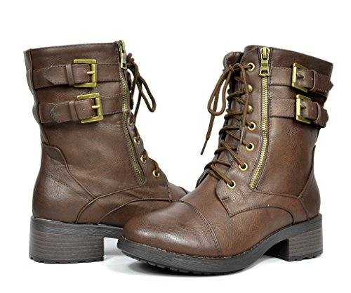 DREAM PAIRS PALLA Women's New Winter Faux Fur Lined Lace Up Combat Booties