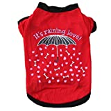 Pet Clothes Red Dog T Shirt Elegant Umbrella Printed Dog Clothing Small Dogs Clothes Cotton Material Super Soft Dog Costume Dog Spring&Summer Clothes (M)