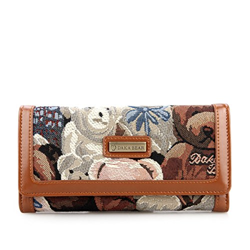 Daka Bear Camo Bear Coffee Flip Wallet Women Clutch Bag Purse
