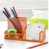 Creative Mesh 3 Compartments Collection Pen Holder Pencil Cup Container Cell Phone Holders Cosmetic Holder Desk Supply Caddies Sorter Organizer (Orange)