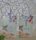 Set of 2 Love and Home Sweet Home Pale Green Eau de Nil with hanging Heart plaque with Pink Vintage Rose Design Shabby Chic