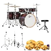 Gretsch CM1-E826P-SDCB Catalina Maple Satin Dark Cherry Burst 7-Pc Shell Pack w/ Hardware, Throne, Cymbals & Drum Set Guide