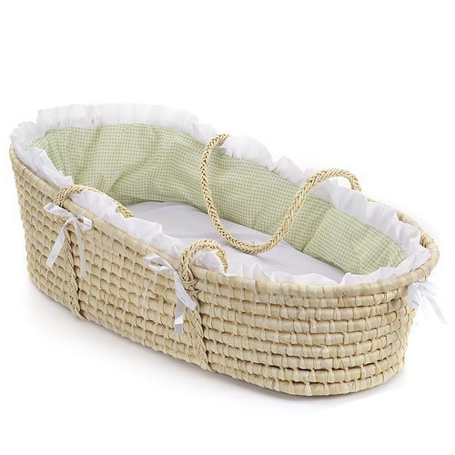 Badger Basket Natural Moses Basket  Gingham Bedding,