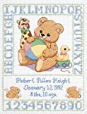 Janlynn Stamped Cross Stitch Kit, Bear Birth Sampler