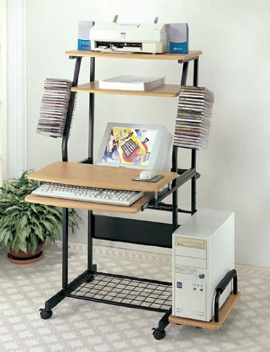 Buy Low Price Comfortable Computer Desk Office Table with Storage Shelf – Natural (B002O5BYSG)