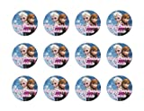 Disney Frozen Anna & Elsa 2 Round Edible Cupcake Images Toppers.