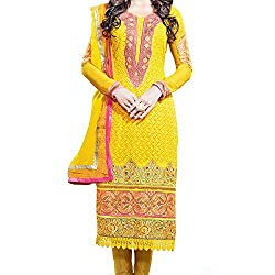 Reet Glamour Women 's Georgette Unstitched Yellow Georgette Straight Churidar Suit