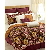 Charter Club Autumn Floral Dark Red 4 Piece Queen Comforter Set