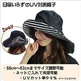首までしっかりUVガードのつば広帽子【UVカット率99%以上】【日傘いらずの紫外線対策帽子】 (ネイビー)
