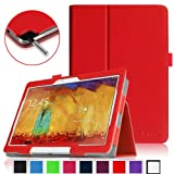 Fintie Slim Fit Book Style Leather Stand Folio Case Smart Cover with Auto Wake/Sleep for Samsung Galaxy Note 10.1 2014 Edition - Red