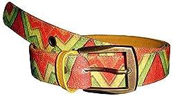 Jajv Women's Canvas Belts (VJ Zig Zag, Yellow, M)