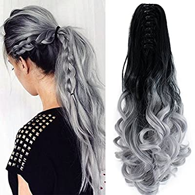 "Neverland Beauty 22"" Claw on Ombre Two Tone Synthetic Curly Wavy Ponytail Hair Extensions 4 Colors"
