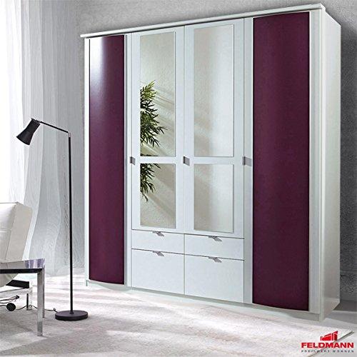 Kleiderschrank Schrank 98784 weiß brombeer mit Spiegel 4-turig 185cm