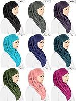 Mybatua Women's Soft Viscose Jersey Hijab and Band Muslim Head Wrap Islamic Two Piece Head Gear
