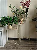 Blumenständer Blumentreppe aus Metall Farbe Beige klappbar