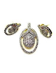 Poddar Jewels Cubic Zirconia Designer Pendant Set - B00S9H986I