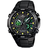 Casio EQWM1100DC-1A2 Mens Edifice Black Label Solar Multi-Band Atomic Alarm Chronograph Link Bracelet