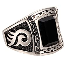 buy Men'S Stainless Steel Ring Agate Silver Black Fashion Engraved Vintage