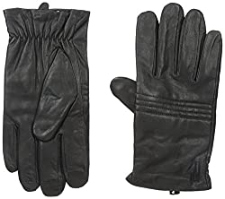 Calvin Klein Men's Channel Quilted Knuckles Glove with Touch Tip Patches, Black, Large