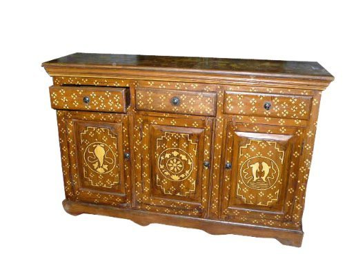 Antique Indian Chest Console Conch Fish Chakra Teak Sideboard India Furniture