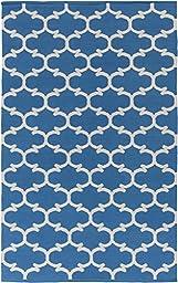 Blue Rug Modern Chic Design 5-Foot x 7-Foot 6-Inch Cotton Flat-Woven Trellis Dhurry