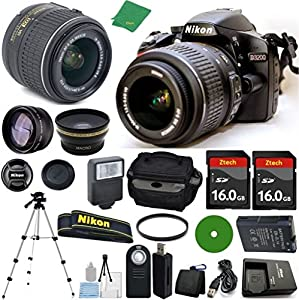 Nikon D3200 Digital SLR with 18-55mm VR Lens (International Version) No Warranty + 2pcs Memory Cards + Case + Reader + Tripod + 6pc Starter Kit + Wide Angle + Telephoto + Filter + More!