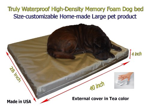 "Home-Made Truly Waterproof Customizable 40""X28""X4"" Memory Foam Premium Light Green Tea Dog Bed"