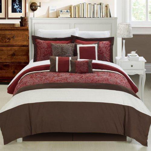 Chic Home Montego 12-Piece Comforter Set, King, Burgundy front-980466