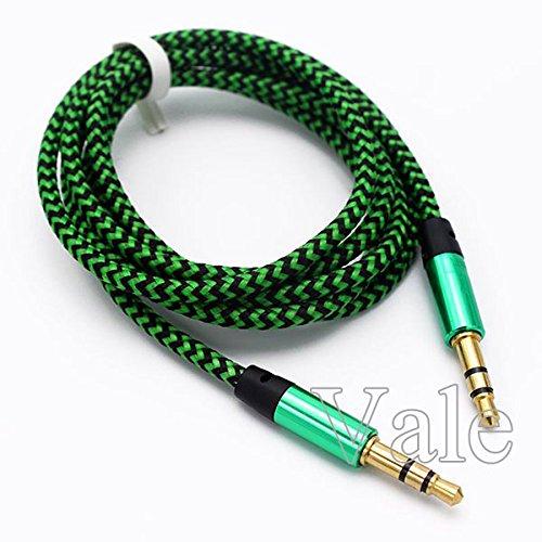 Vale® 1M Tressé Fabric jack 3.5mm mâle à mâle Câble audio AUX Cord Pour MP3 Car iPod - vert
