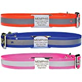 Reflective Waterproof Dog Collar. Comes With Custom Engraved Stainless Steel Slide-On Pet ID Tag. 100% Waterproof and Durable.