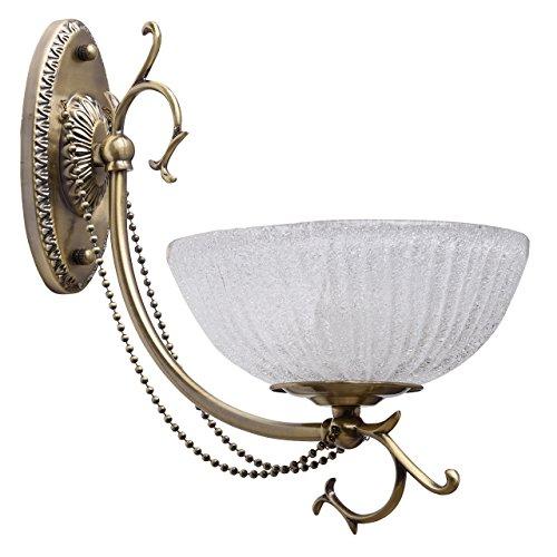 Applique style classique, antique, armature en métal couleur bronze, plafonnier en verre, décoré avec pendeloques 1 ampoule non-incl.1 x 60W E27 230V