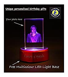 Personalized birthday gift 3D Laser Engraved Crystal Cube with Multicolor LED Base Light by Fusion Crystals