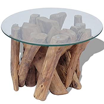 Festnight Solid Wood Round Coffee Side Table with Strong Tempered Glass and Teak Base