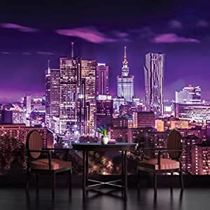 Warsaw city lights skyline purple wallpaper mural for City lights mural