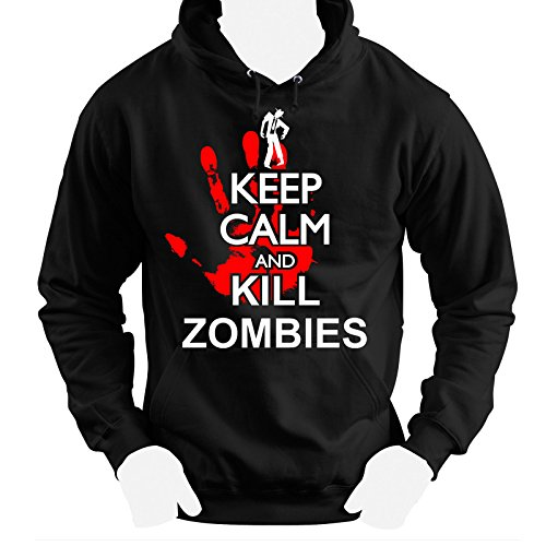 Keep Calm and kill zombies, Walking dead inspired , hoodie, Cotton, 80% Cotton,20% Polyester, Men's, Women, Kids (S, Nero)