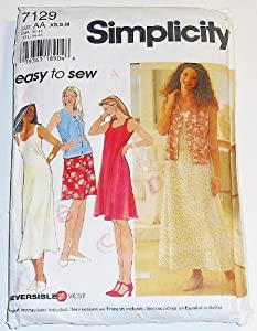 Simplicity 7129 Misses' / Miss Petite Dress in Two Lengths and Reversible Vest Size AA XS, S, M