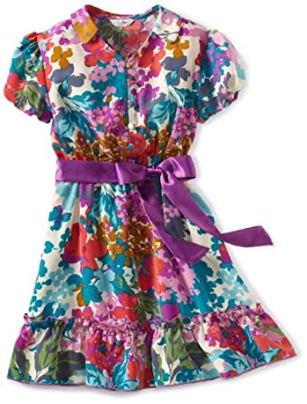 Kc Parker Big Girls' Printed Shortleeve Floral Dress, Purple Floral, 7